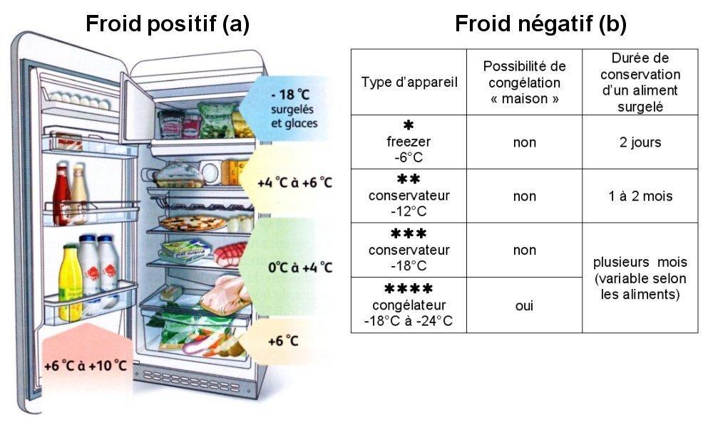 température congélateur frigo