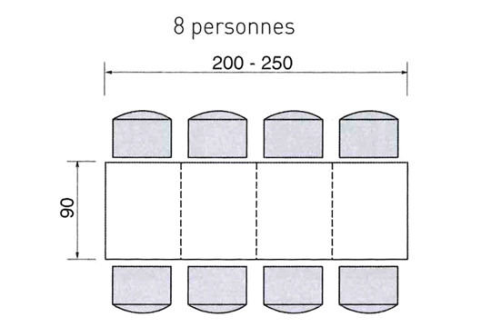 dimension table 6 personnes
